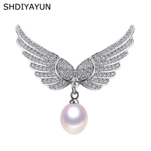 SHDIYAYUN 2019 New Big Sale Pearl Brooch For Women Noble Wing Brooches Pins Natural Freshwater Fine Jewelry High Quality
