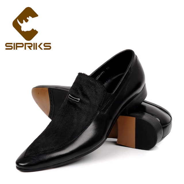 6187cc5ba82 Sipriks Mens Real Leather Loafers Black Suits Men Shoes Slip On Dress Shoes  Grooms Wedding Party Wear Shoes Business Work Loafer