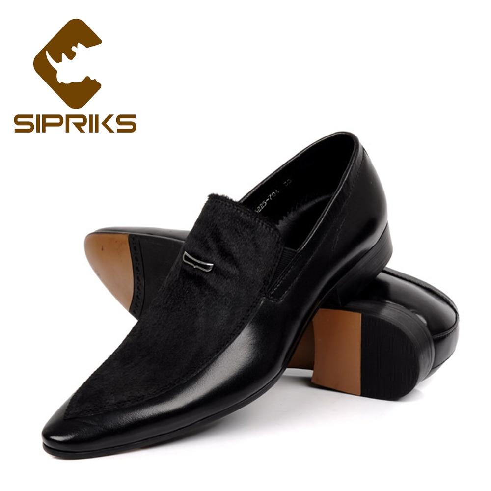 Osco 2018 Black Brown Men Leather Shoes Mens Pointed Toe Dress Shoes High Quality Formal Slip On Office Wedding Shoes Men More Discounts Surprises Men's Shoes
