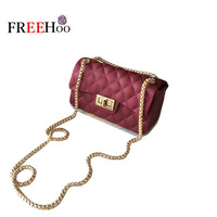 Europe And The United States New Mini Messenger Bag Rhombus Chain Mobile Phone Bag Matte Jelly