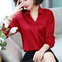 Women Tops and Blouses Casual Chiffon Silk Blouse Long Sleeve Blusa Feminina Shirts Solid Plus Size XXXL Elegant