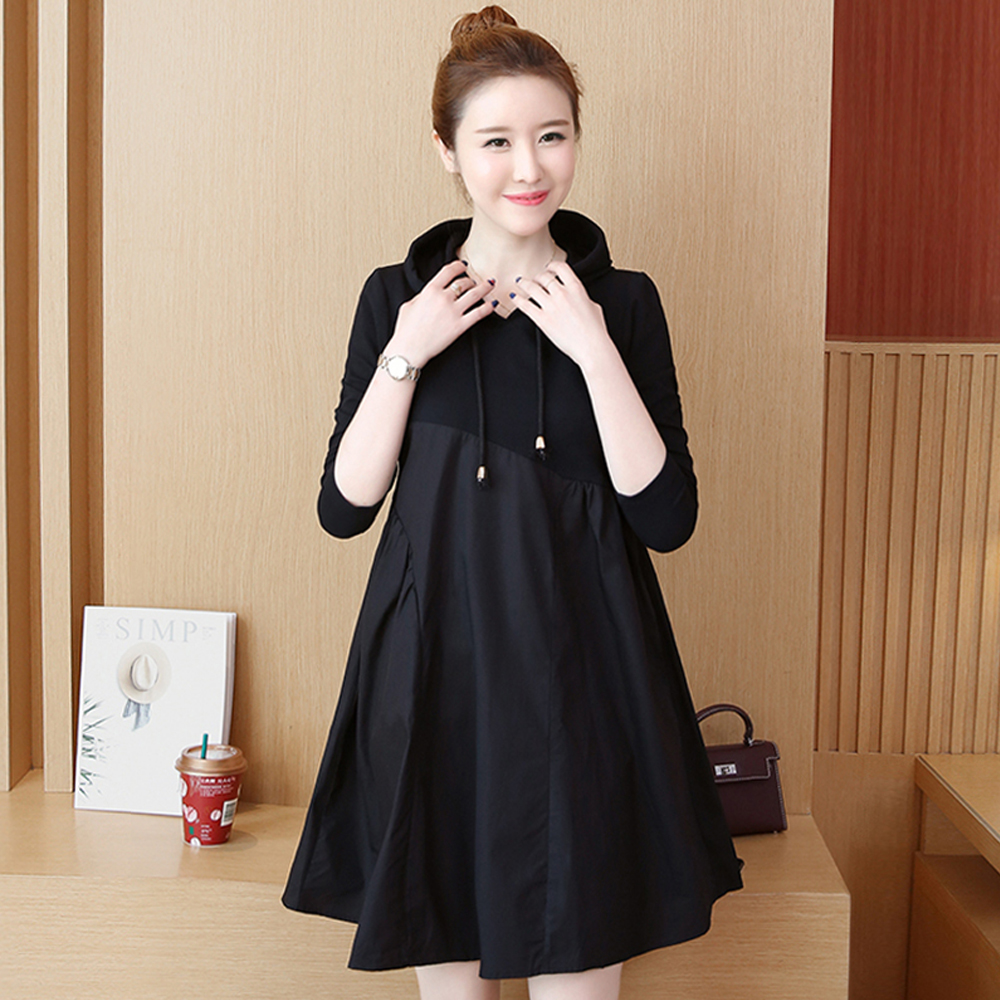 Spring and summer new style Mid-length stitching hooded dress Fall fashion new large size dress stitching 25