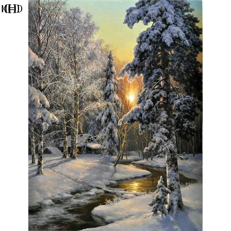 Needlework full diamond painting cross stitch winter landscape snow diy diamond embroidery picture square diamond mosaic pattern in Diamond Painting Cross Stitch from Home Garden