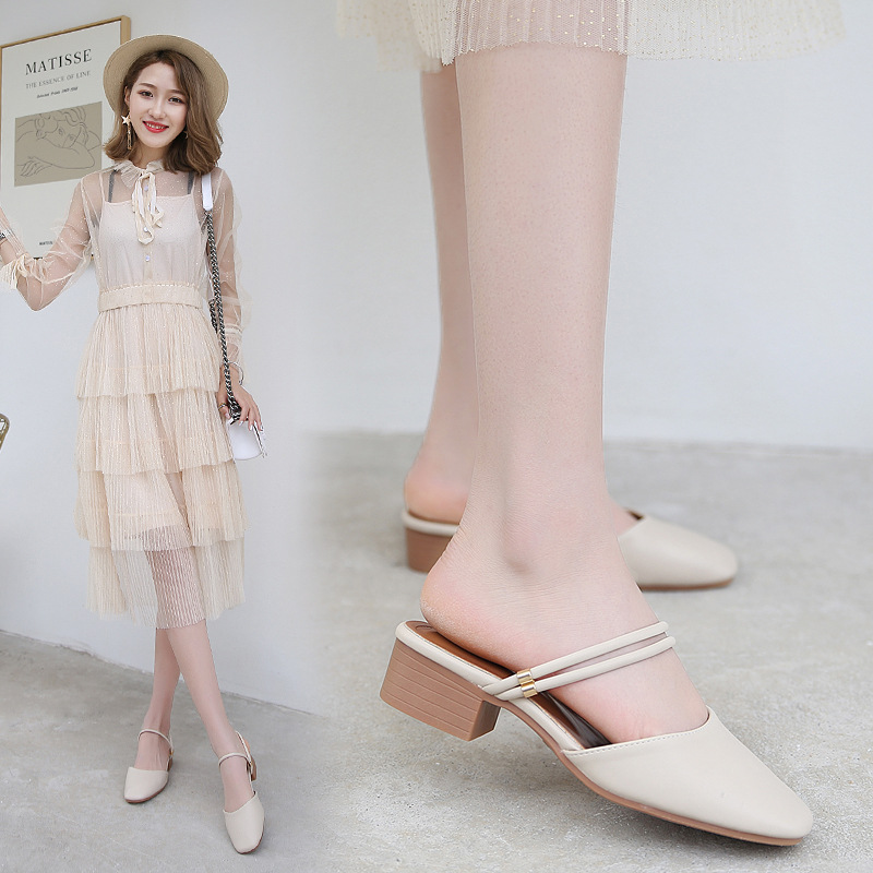 US $15.77 28% OFF|two wears summer mules shoes woman double narrow ankle band slippers square toe sandals thick heel mules gladiator sandalias 248 in