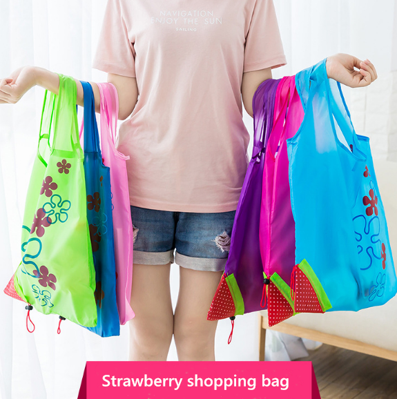 Hot Creative Environmental Storage Bag Handbag Strawberry Foldable Shopping Bags Reusable Folding Grocery Nylon Eco Tote Bag