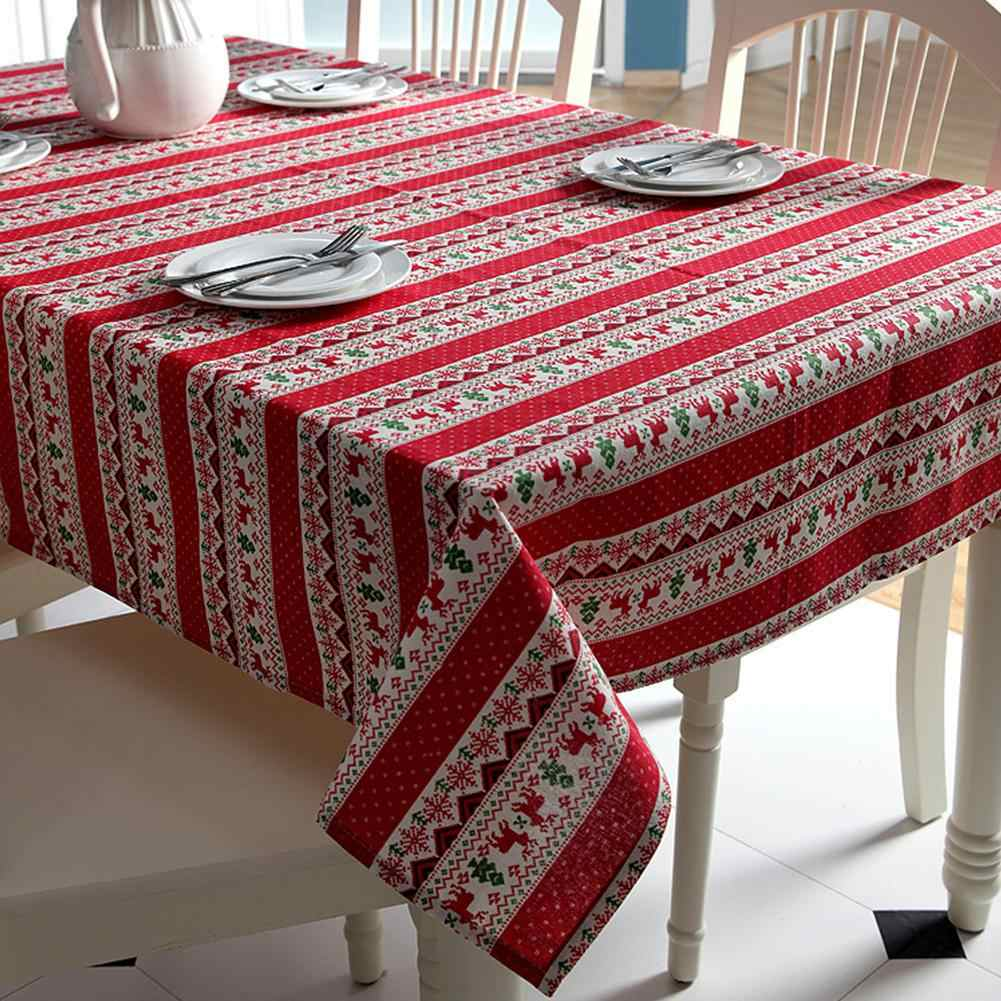 Adeeing Christmas Tablecloth Cartoon Deer Printed Table Cover Home Party Festival Decor Table Cloth