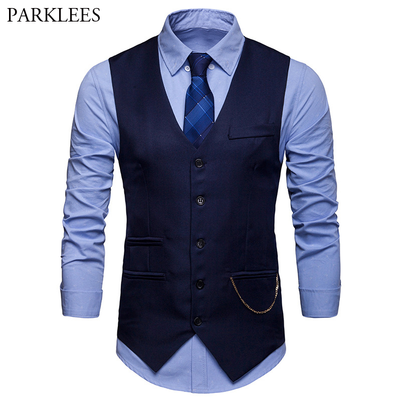 Men's Classic Slim Fit Chain Vest 2019 Brand New Single Breasted Vest Waistcoat Men Wedding Business Casual Tuxedo Vests Gilet