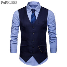 Men's Classic Slim Fit Chain Vest 2019 Brand New Single Breasted Vest Waistcoat Men Wedding Business Casual Tuxedo Vests Gilet(China)