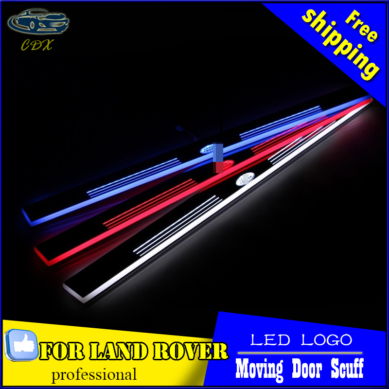 Car Styling LED Moving Door Scuff for Land Rover Evoque 2013-15 Door Sill Plate LED Welcome Pedal LED Brand Logo Drl Accessories for buick lacrosse excelle gt excelle xt verano light led moving front door scuff sticker sill plate pedal protector styling