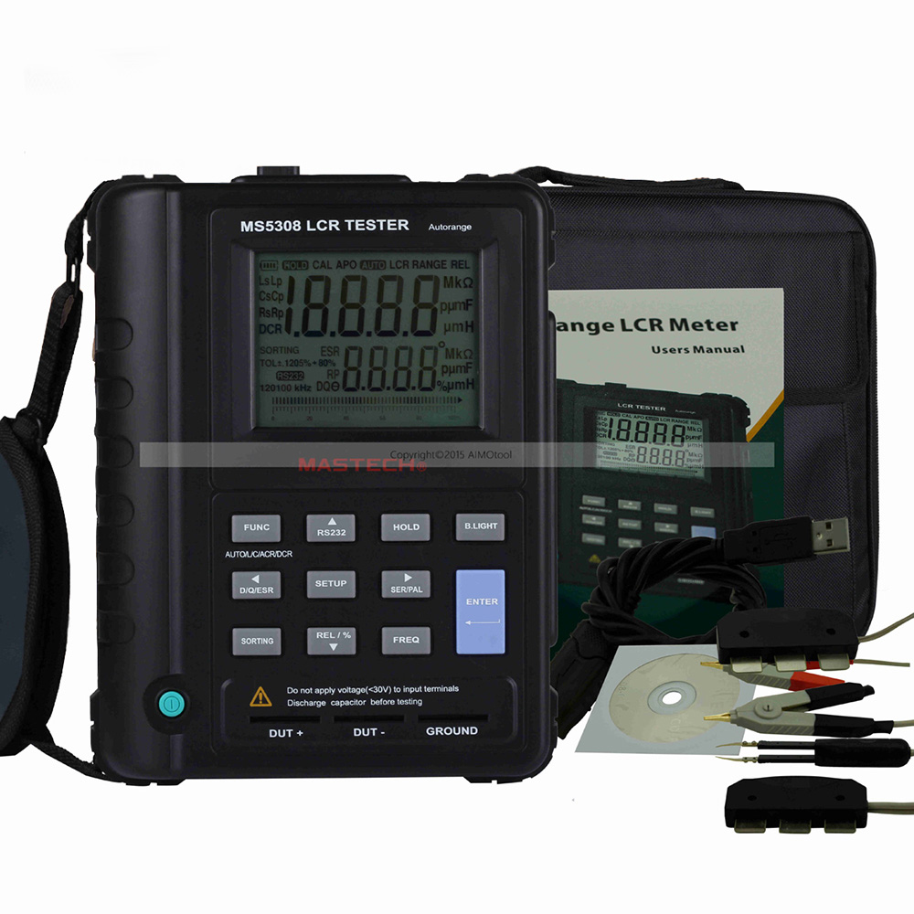 M118 Mastech MS5308 LCR Meter Portable Handheld Auto Range LCR Meter High-Performance 100Khz lutron lcr 9083 digital lcr meter