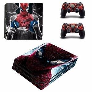 Image 2 - Spiderman Design skórka naklejka na konsolę Sony Playstation 4 Pro i 2 szt. Skórka na kontroler naklejka na akcesoria do gier PS4 Pro