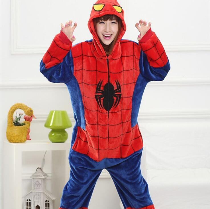 Adult Winter Flannel Spiderman Costumes Ironman Superman Batman Kigurumi Spider man Party Onesie Cosplay Costume For Women