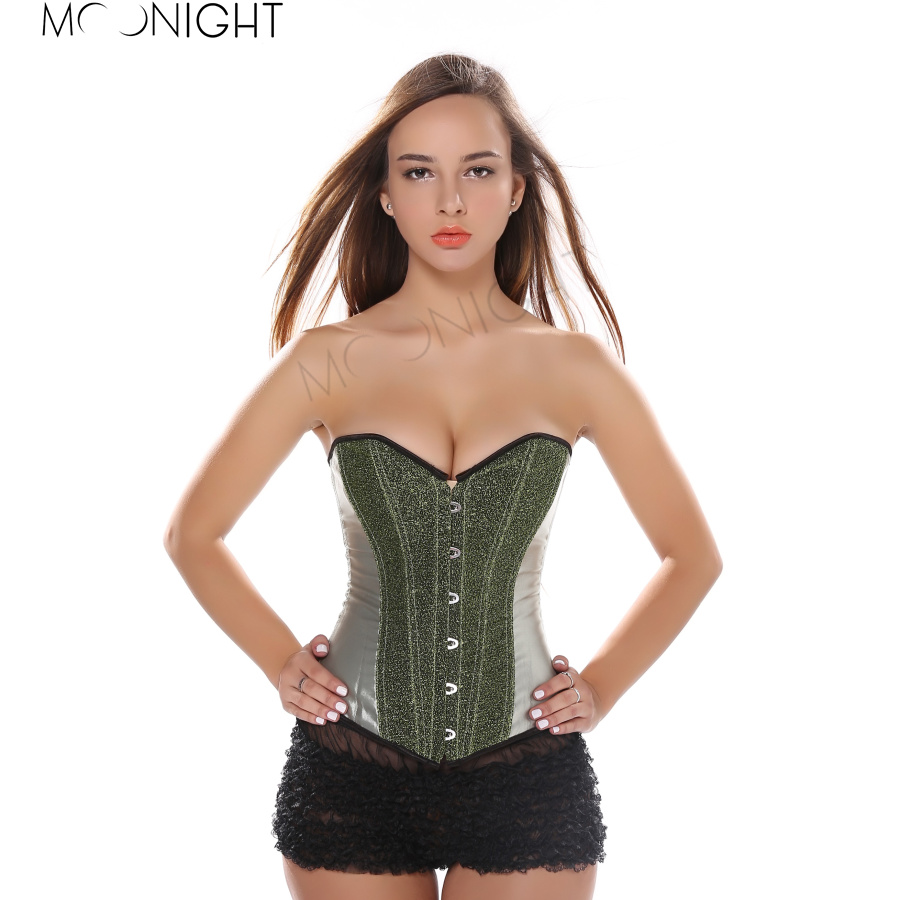 MOONIGHT Woman Sexy Waist Shaper Corset Green Silvery Purple Corset Corselet Gothic Bodybuilding And Fitness Bustier