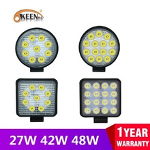 OKEEN Bright Work LED Light Bar 27W 42W 48W Car Light Spot Beam 12v 24v Led For Jeep ATV UAZ SUV 4WD 4x4 Truck Tractor Off-road 1 pair 12v 24v led rock light kits for interior exterior under off road truck for jeep atv suv jeep 4x4 boat 4wd motorcycle car