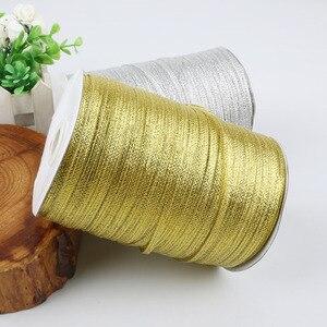20 ярдов 3 мм ширина Золотая/серебристая металлическая Блестящая лента DIY ремесло шитье подарочная упаковка Пояс Свадьба Вечеринка Рождество Новый год Декор