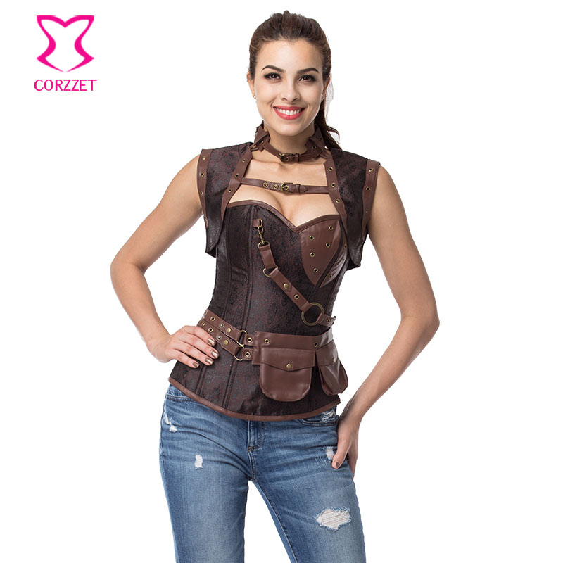 Plus Size Vintage Brown Brocade & Leather Steampunk Overbust Corset Waist Training Burlesque Kningt Bustier Gothic