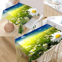 Custom Daisy Flower Table Cloth Oxford Print Rectangular Waterproof Oilproof Table Cover Square Wedding Tablecloth недорого