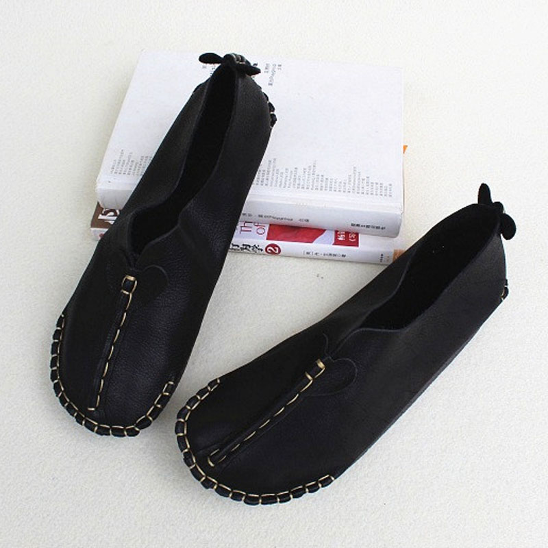 Femmes chaussures noir en cuir véritable dames chaussures plates bout rond sans lacet ballerine femme chaussures décontracté femmes appartements (8008)