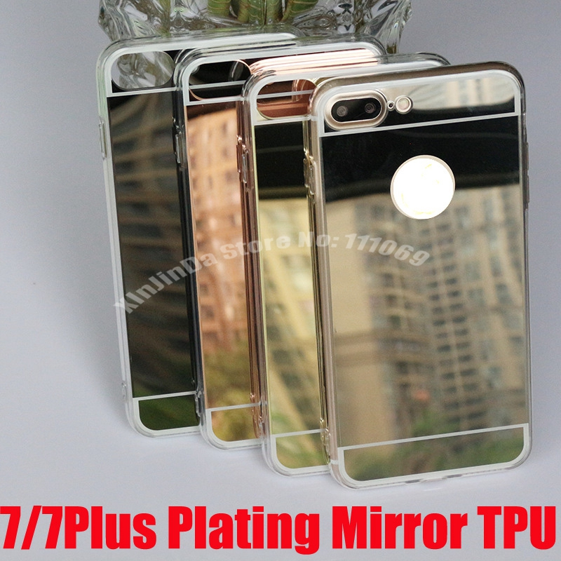 Luxury Plating Bling Mirror Case Cover For iPhone X 5 5s SE 6 6S 4.7 6S Plus 5.5 iPhone 7 8 Plus Transparent TPU Back Cover