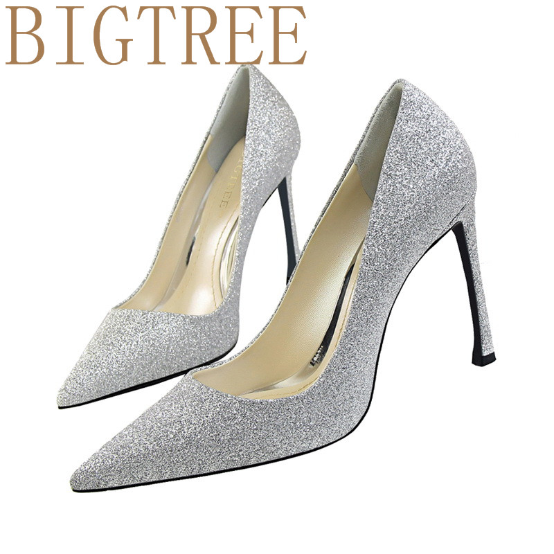 BIGTREE Women Pumps 2017 Sexy Was thin 10CM High Heels Pointed  Toe Party Shoes Woman Wedding Office Pumps black gold Silver sexy black leather pointed toe high heels pumps shoes newest woman s lace up thin heels shoes party shoes