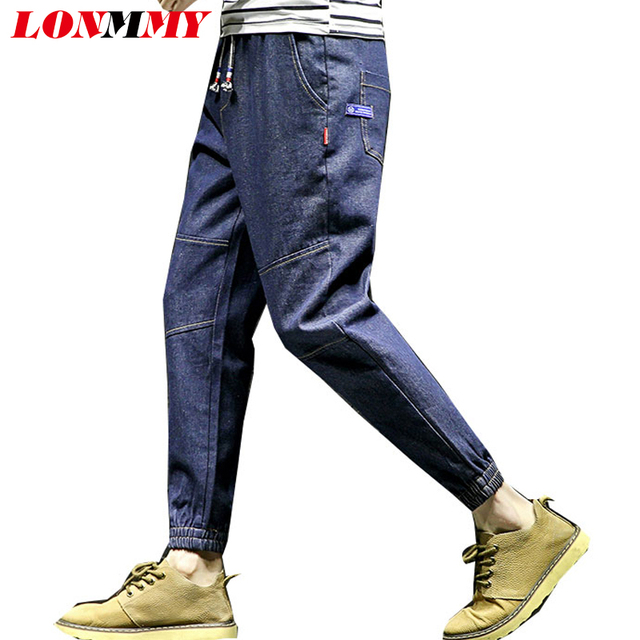 0a2d5ebd US $24.57 15% OFF|LONMMY 5XL Skinny jeans men Cotton 45% Hip hop trousers  Harem pants men Cropped pants Denim Blue Casual Fashion New 2018 Spring-in  ...