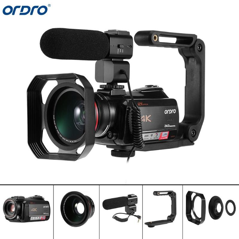 Caméras vidéo Ordro AC5 4K caméscopes avec micro Zoom 12X FHD 24MP WiFi IPS écran tactile numérique optique DV Mini caméscopes