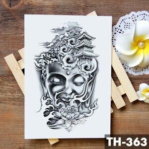 Будда Шакьямуни водостойкая Временная тату-наклейка, бамбуковый Лотос светильник светящаяся башня, татуировки на руку, боди-арт, искусстве...