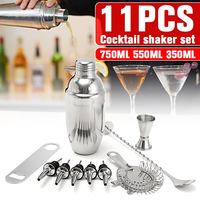 11Pcs 500ML Stainless Steel Cocktail Shaker Jigger Mixer Bar Set Wine Martini Drink Mixer Bar/Party Tool Bartender Set Gifts