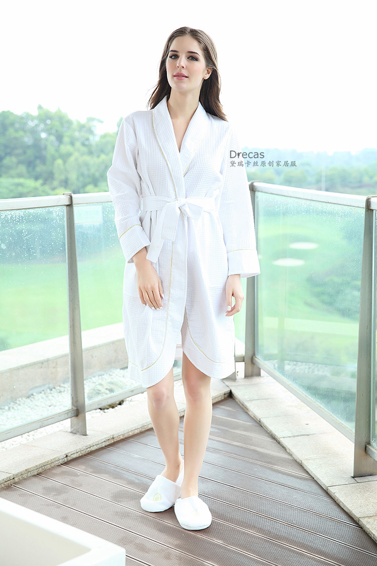 Womens spring and summer 100% cotton waffle hotel and home bath robe ladies front opening hotel bathe sleepwear