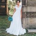Maternidade Vestidos de Casamento Uma Linha de Mulheres Brancas da Luva do Tampão Até O Chão robe de mariage Império Chiffon Vestidos de Noiva Praia Boho