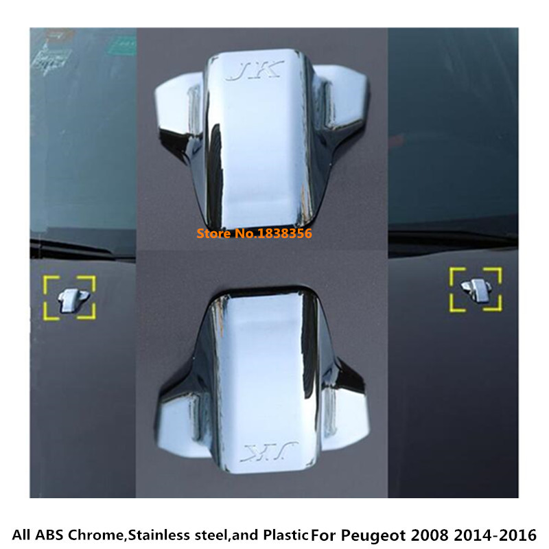 For Peugeot 2008 2014 2015 2016 car styling cover ABS head front Machine Water wash paste outlet stick lamp frame trim part 2pcs image