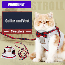 WANGUPET Bow decoration Cat cotton collar vest Pet puppy harness Soft Paw Rubber cotton Walk Collar 2 color 3 size for small dog
