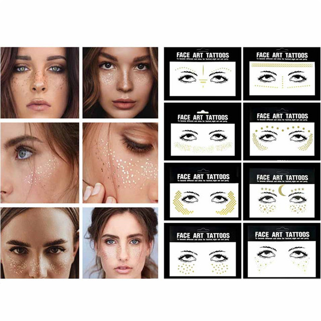 6Style Gold Temporary Tattoo Stickers Face Jewelry Decoration Party Makeup Body Shining Festival Flash Tattoos Body Art Stickers