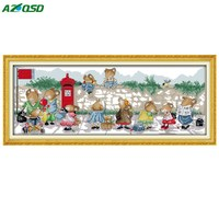 DMC 11CT 14CT Chinese Cross Stitch Kits The Mice Waiting For The Bus Paintings Print On