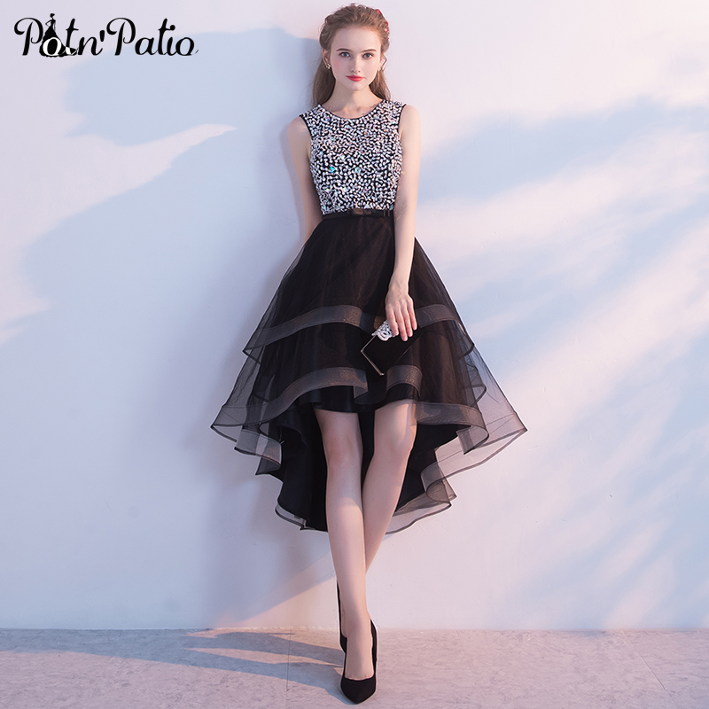 Black High Low Prom Dresses 2018 Sexy Sleeveless Backless Beading Pearl Sequines Short Front Long Back
