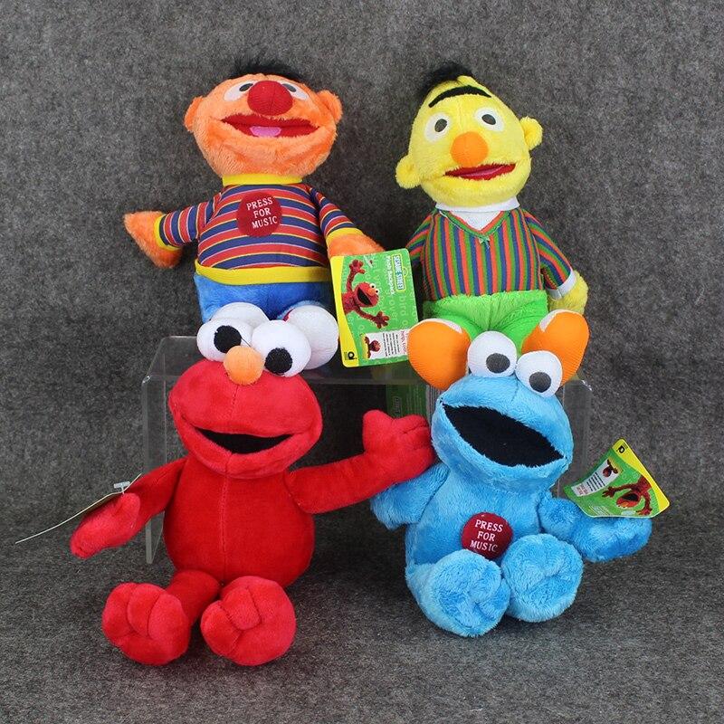 4pcs/lot Sesame Street Elmo Cookie Bert Grover Big Bird Plush Doll Soft stuffed pendant ornament Toy Great Gift free shipping