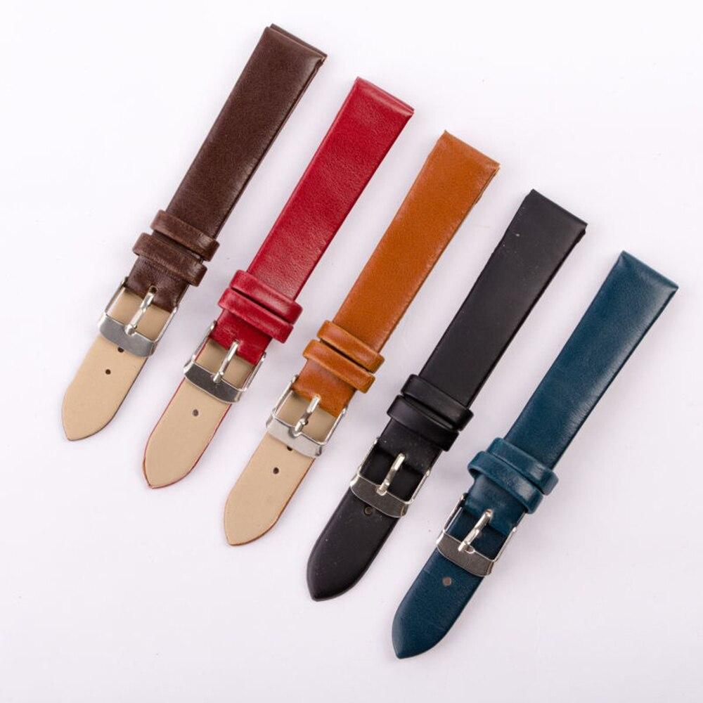 12/14/16/18/20/22mm Echtes Leder Armband Band Mit Edelstahl Schnalle Farbe Zufällig