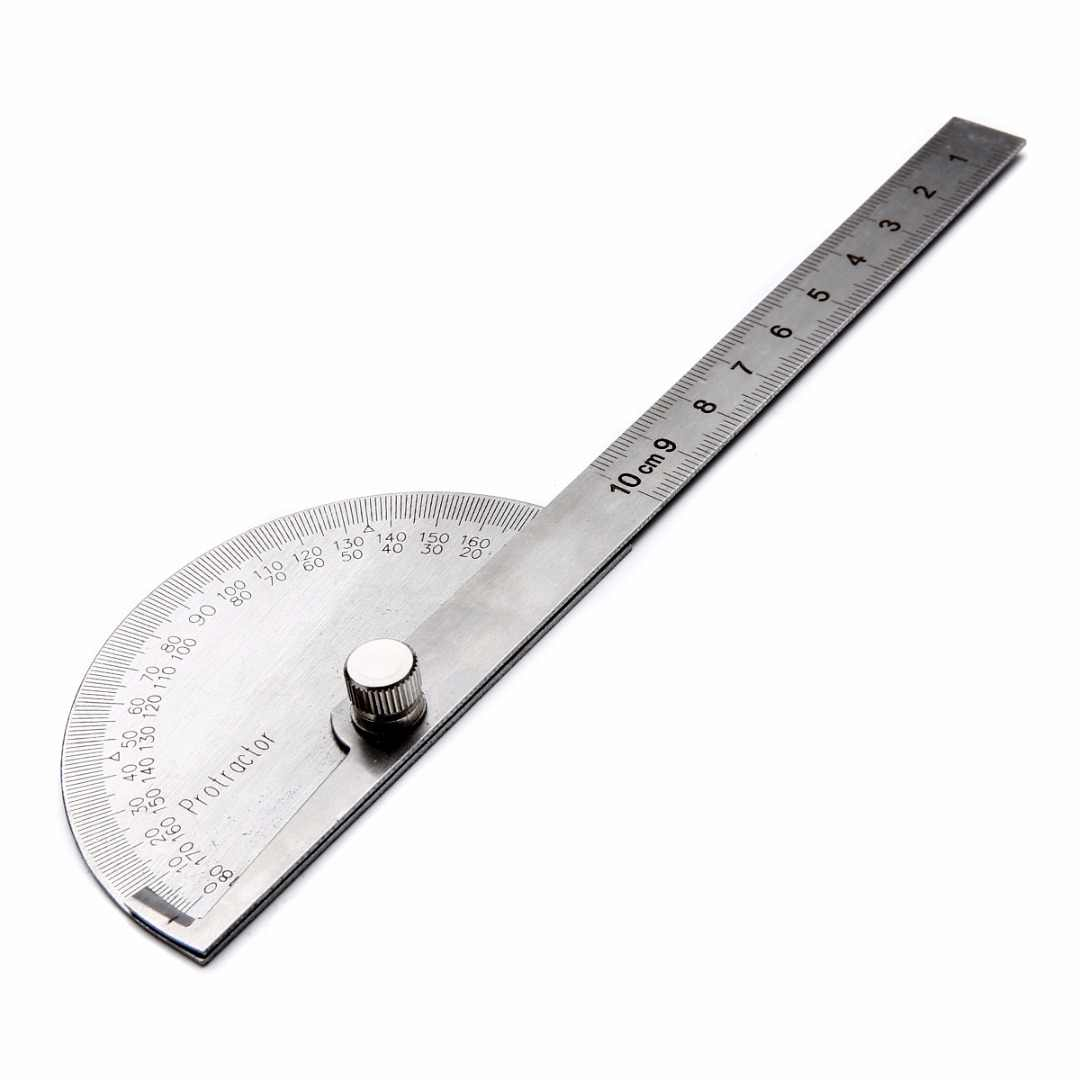 QWORK Transportador de /ángulos Herramienta de medida de regla de carpinter/ía de acero inoxidable Finder 250mm 0-180 grados