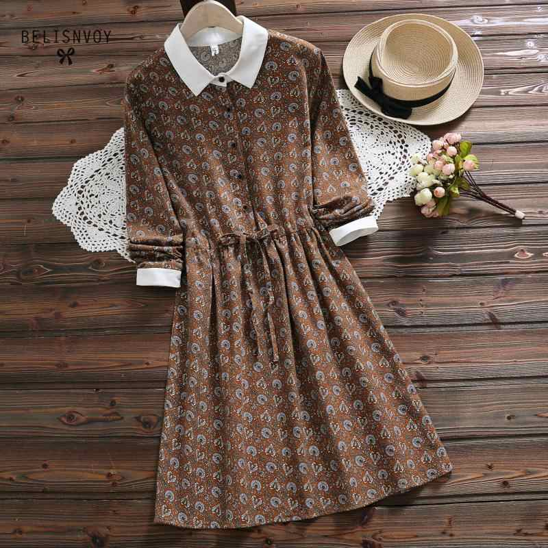 ef82962b6db Japanese Mori Girl Vintage Dress New Spring Autumn Women Long Sleeve Floral  Print Cotton Dresses Dark
