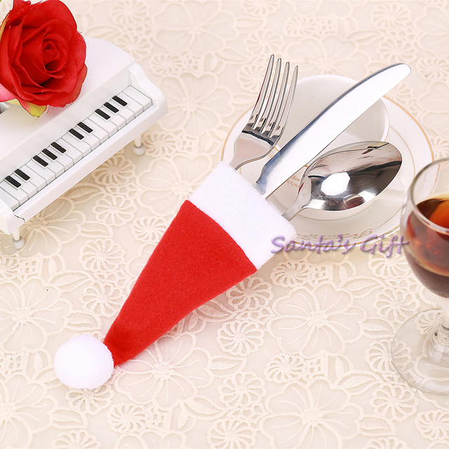 new christmas hat decoration silverware holder xmas red santa claus cutlery bag table party tableware - Silverware Holder