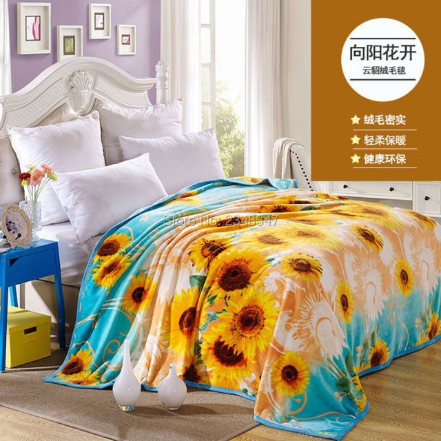 Quality Sunflower Microplush Warm Soft Faux Mink Flannel Fleece Adorable King Size Blankets And Throws