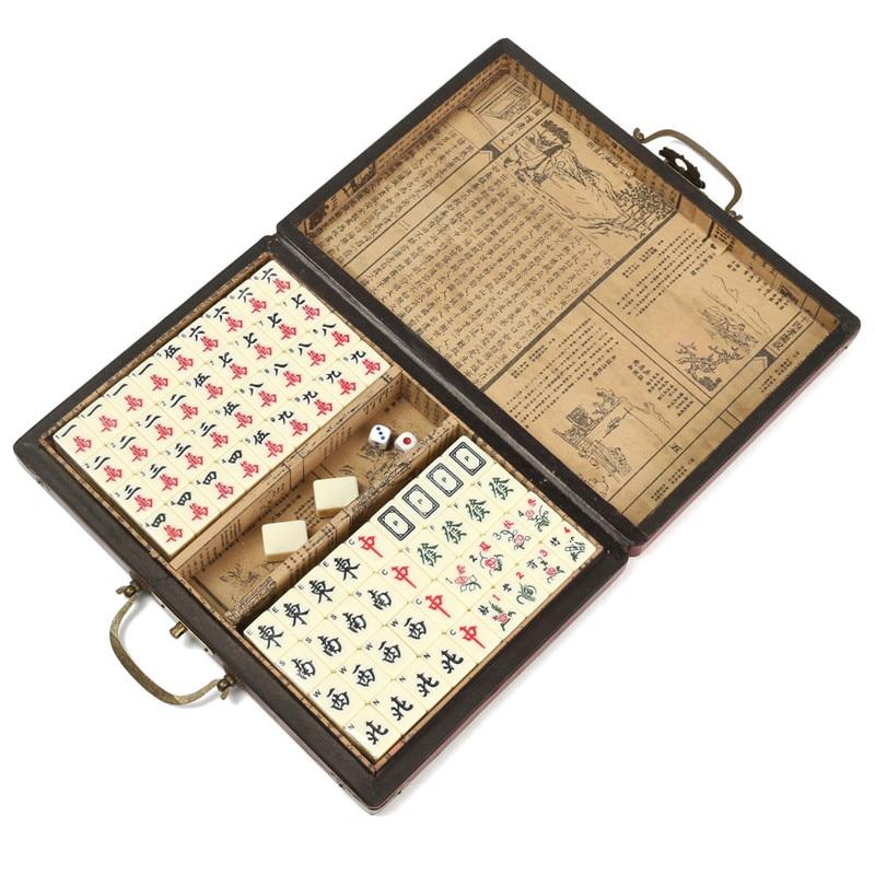 Bambou Portable Rétro Mahjong Boîte Rare Chinois 144 Mah-Jong Set avec Box Case Pour Conseil Jeu Joueurs