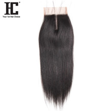 HC Straight Remy Hair 4x4 Middle Free Three Part Lace Closure 8 20inch Natural Color One
