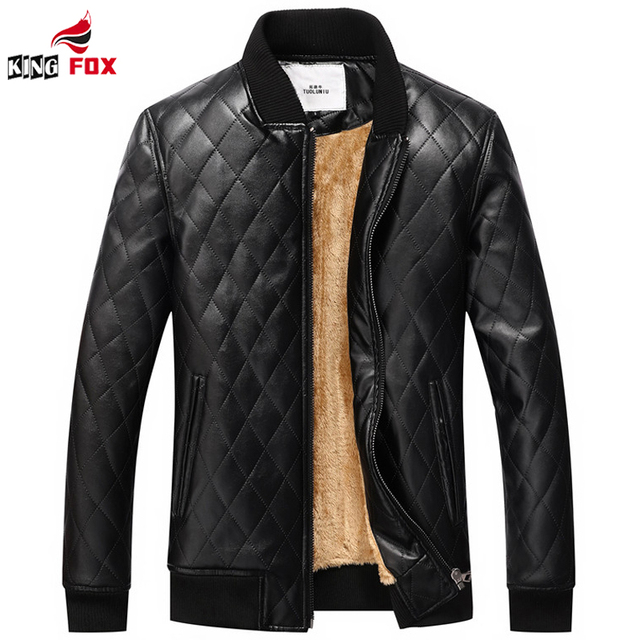 Men leather jackets Winter brand plus Velvet thick Warm Motorcycle Casual Mens Plaid Leather Jackets and coats EUR size S~XXL