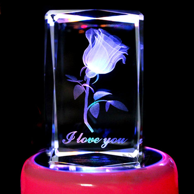 3D cristal gravure roses Saint Valentin cadeau idées de cadeau d'anniversaire à envoyer les filles femme amie cadeau