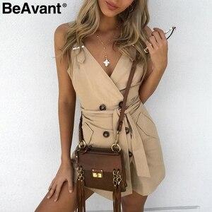 Image 2 - BeAvant sexi Vestido corto de algodón con escote en pico, vestido de mujer sin espalda en negro con banda y botones, de corte a vestido ajustado, Vestido corto sin mangas para club de mujer