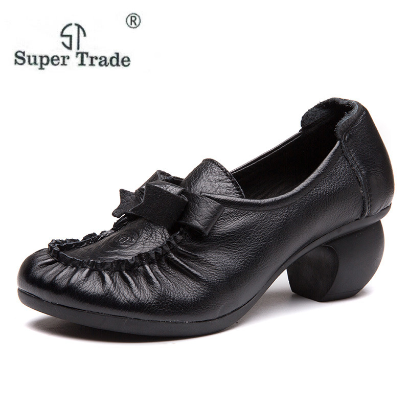 ST SUPER TRADE Spring Genuine Leather Women Square Heels Flats Shoes Chaussures Femme Fashion Butterfly Knot Woman Shoes цена 2017