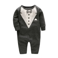 2017 Autumn Baby Boy Romper Gentelmen Baby Jumpsuit With Bow Tie Toddler Boy Long Sleeve Clothing