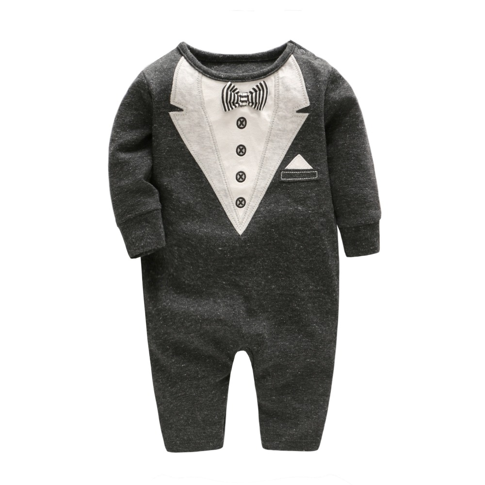 2017 Autumn Baby Boy Romper Gentlemen Baby Jumpsuit with Bow Tie Toddler Boy Long-sleeve Clothing Onesie gentlemen style striped baby boy romper playsuit