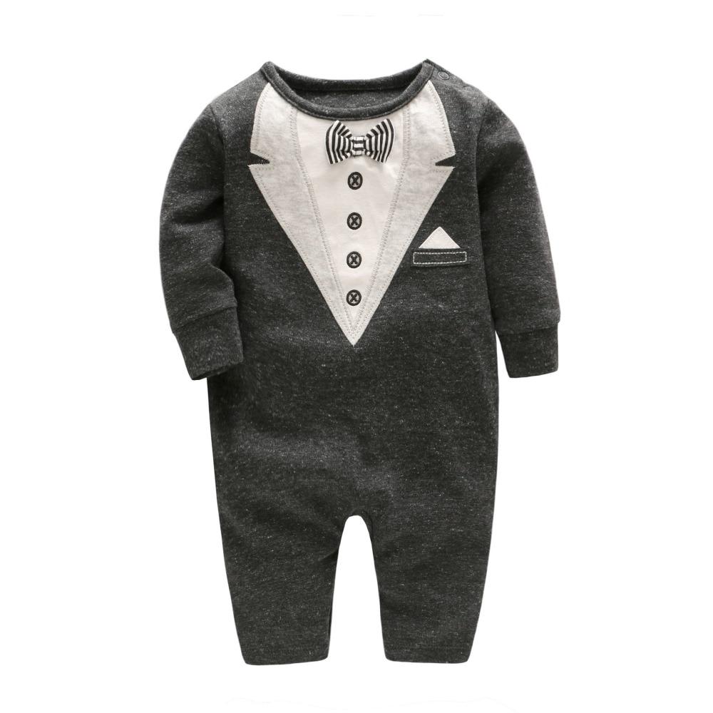 2018 Spring Baby Boy Romper Gentlemen Baby Jumpsuit with Bow Tie Toddler Boy Long-sleeve Clothing Onesie